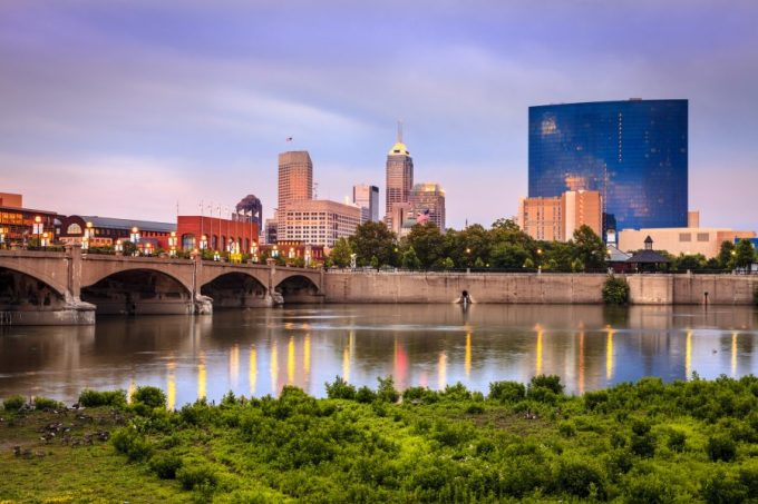 Beautiful view of Indianapolis skyline and the White River at sunset.