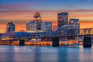 Louisville, Kentucky, USA skyline on the river.