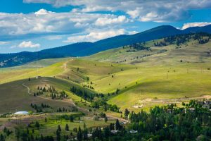 Hills outside of Missoula, seen from Mount Sentinel, in Missoula, Montana.