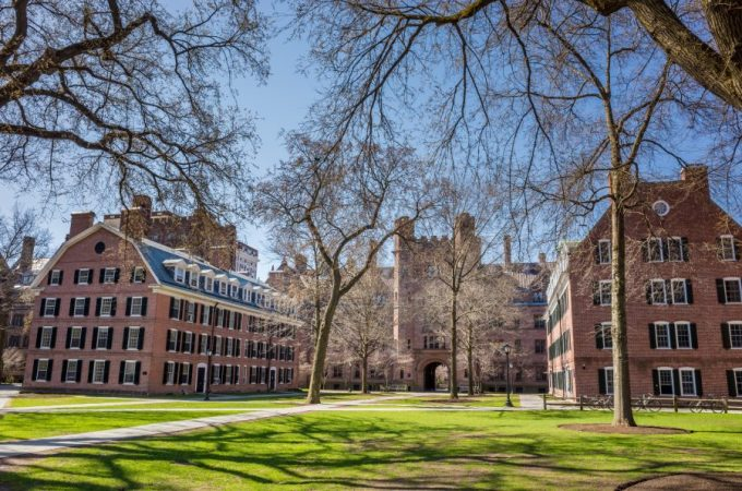 Yale university buildings in spring blue sky in New Haven, CT USA.