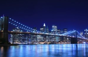 Brooklyn Bridge and Manhattan skyline At Night New York City.