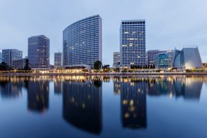 Downtown Oakland and Lake Merritt Reflections at Twilight.