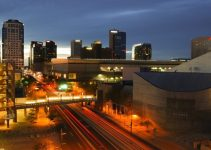 Time exposure of downtown Phoenix, AZ at sunset.