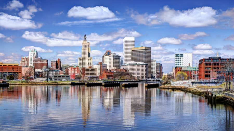 A wide shot of Providence, Rhode Island.
