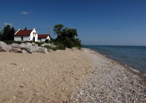 Outbuildings of the Wind Point Lighthouse situated along the beaches of Lake Michigan at Racine, Wisconsin.