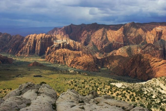 A wide shot of a snow canyon in Saint George, Utah.