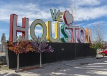 """An image of a """"We Love Houston"""" sign."""