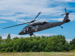 National Guard helicopter departs Pt. Roberts Air Park for Orcas Island