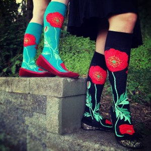 One of ModSock's newest and more popular designs is based on Shaklee's favorite flower, the giant red poppy. Photo courtesy: ModSocks.