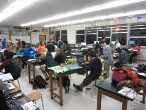 Sehome Science Olympiad students worked into the evening the night before their regional competition.