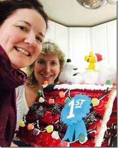 Daniele O'Connell and team mate Darcy Walters were proud winners of the 2016 gingerbread house contest. Photo credit: Darcy Walters.