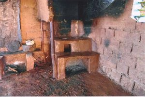 The Hunt family built this mud brick stove. Photo courtesy: Hunt family.