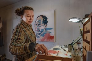 Beggan shows Bellingham visual artist Katie Johnson in the comfort of her studio, part of his Bellingham at Work project. Photo credit: Patrick Beggan.