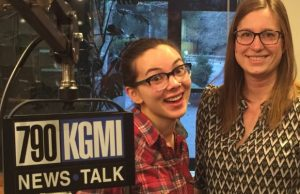 Kelsey Rowlson and Shu-Ling Zha, the capital campaign chair for Sylvia Center for the Arts, posed together in the studio. Photo courtesy: Bellingham/Whatcom Chamber of Commerce.