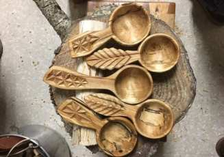 Coffee scoops hand carved by Allen Berry. Photo courtesy: Allen Berry.