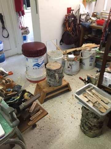 Allen Berry's carving workshop is in his kitchen. Photo courtesy: Allen Berry.