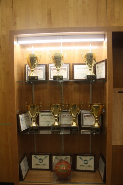Outside of the entrance to the gym, Sehome's many athletic awards are on display. Photo credit: Serena Keenan.