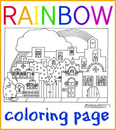 Rainbow coloring page by childrens book illustrator Melanie Hope Greenberg.