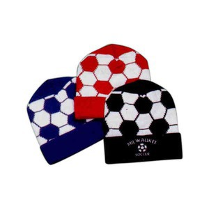 Soccer Ball Knit Hats Custom Imprinted With Your Logo!