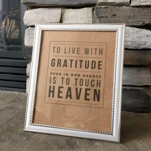 to live with gratitude...