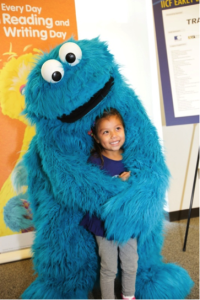 Cookie Monster was a big hit at the IICF-Sesame Workshop Early Literacy Initiative Launch.