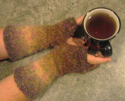 Basic wrist warmers and a cup of tea