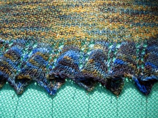 Blocking the moss stitch shawl