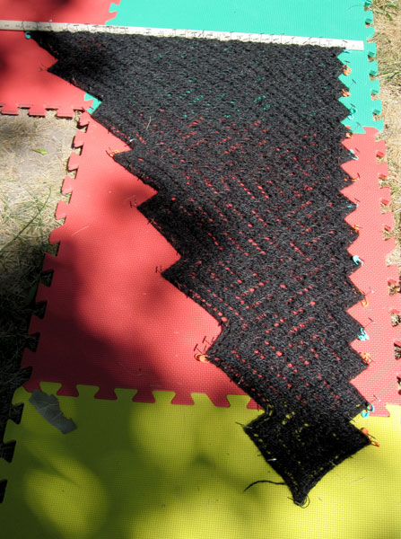 Blocking the Skuld shawl