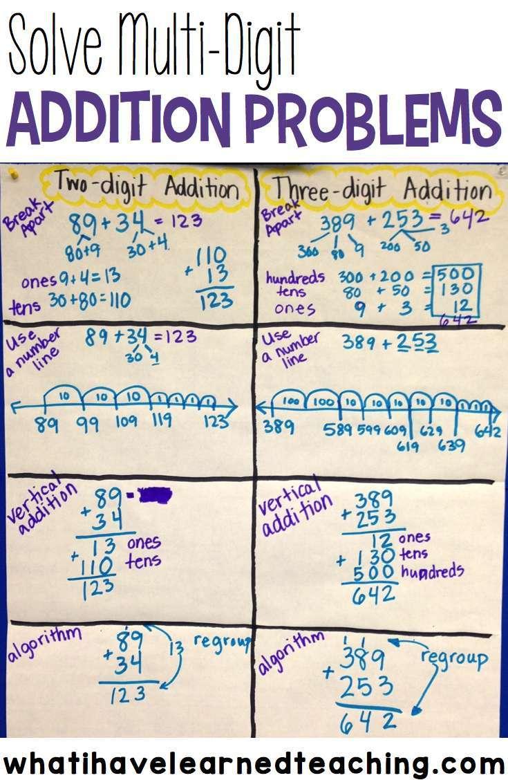 Ways to solve multi-digit addition problems [ 1128 x 735 Pixel ]