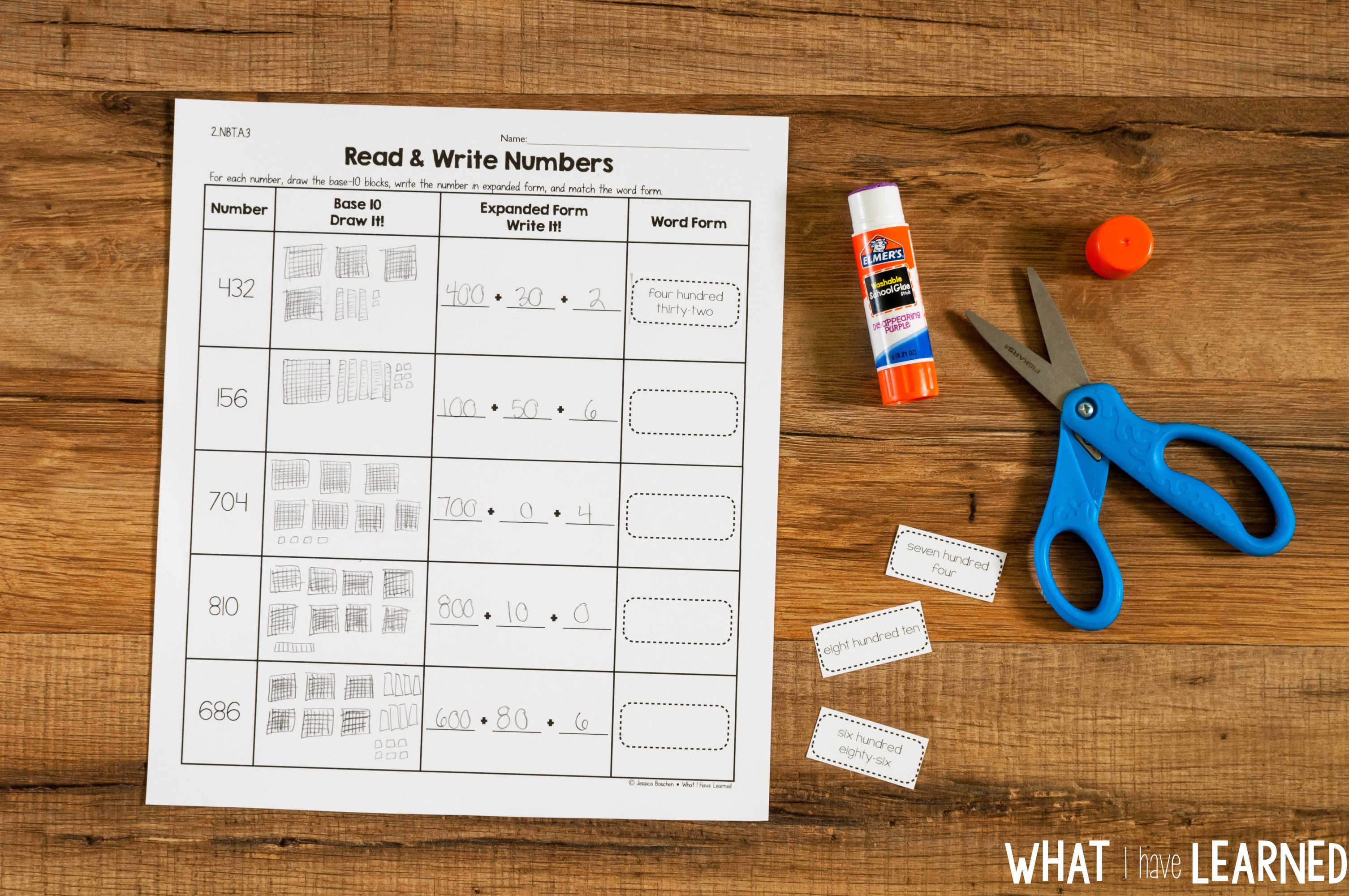 Cut Amp Paste Math Activities For Every Second Grade Standard