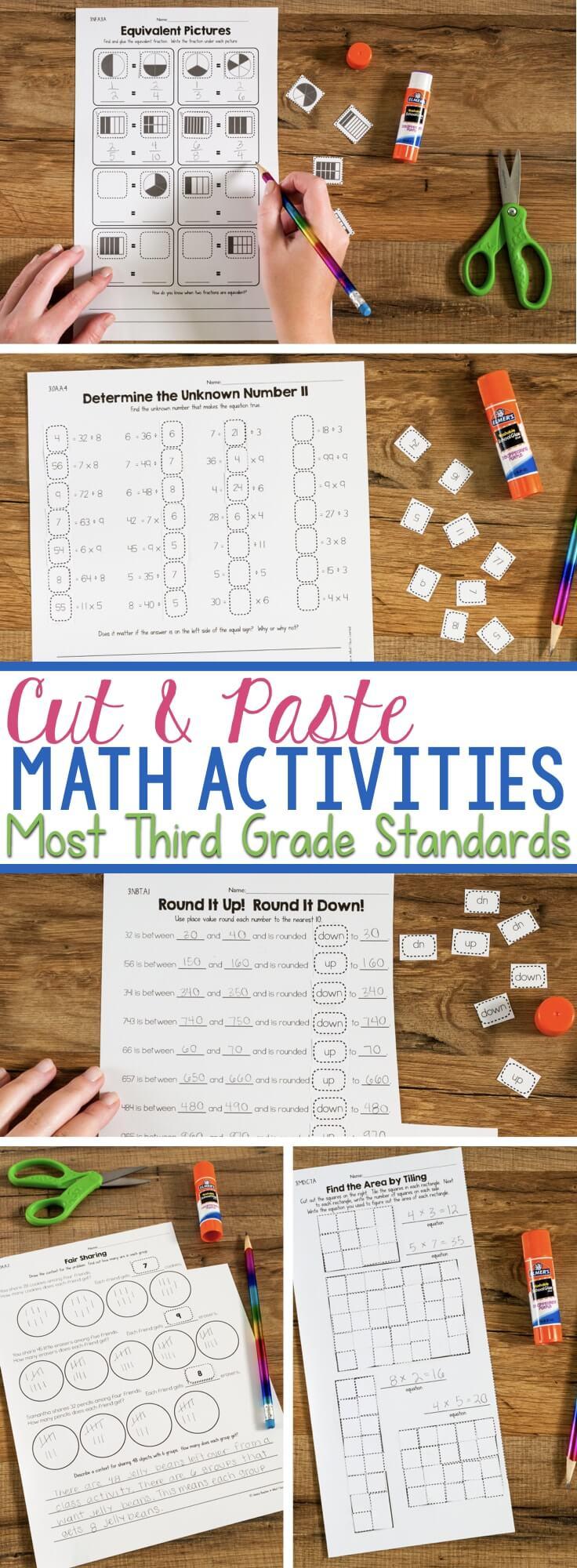 medium resolution of Cut \u0026 Paste Third Grade Math Activities
