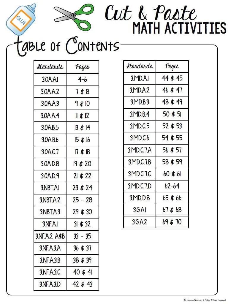medium resolution of Cut and Paste Math Activities for Third Grade BUNDLE