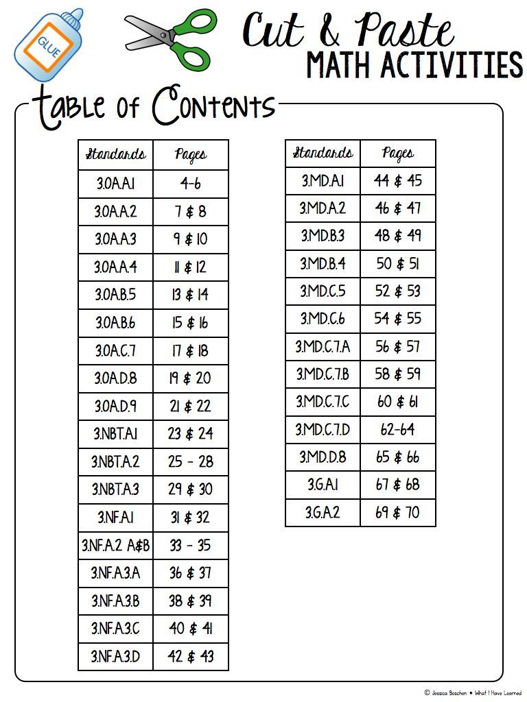 hight resolution of Cut and Paste Math Activities for Third Grade BUNDLE