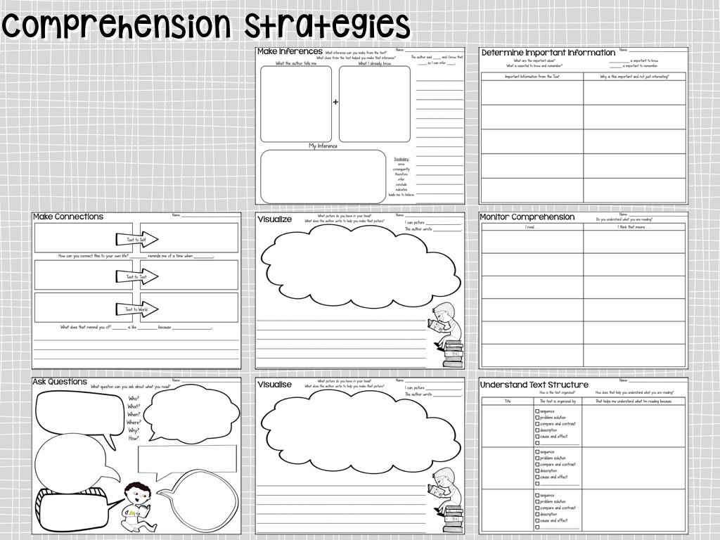 Comprehension Graphic Organizers For First Grade