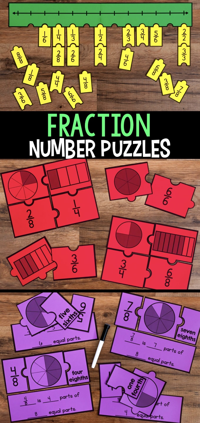 hight resolution of Fraction Number Puzzles for Third Grade