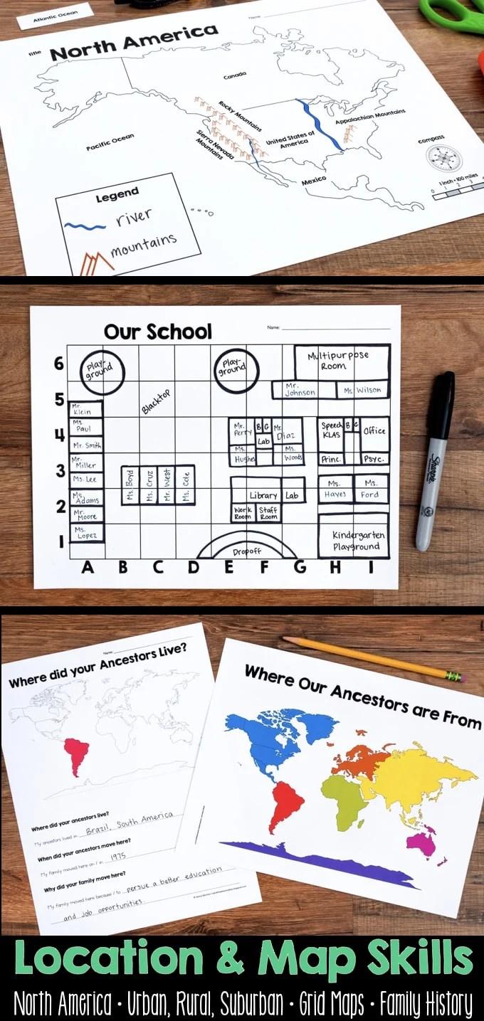 hight resolution of Map Skills \u0026 Location Social Studies Unit