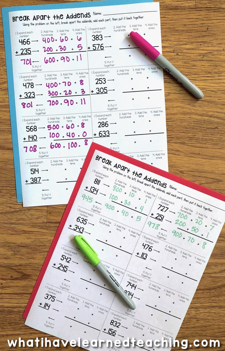 small resolution of Three-Digit Addition Math Worksheets Using Addition Strategies