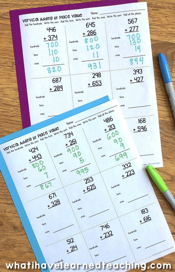 Three-Digit Addition Math Worksheets Using Addition Strategies [ 1128 x 725 Pixel ]