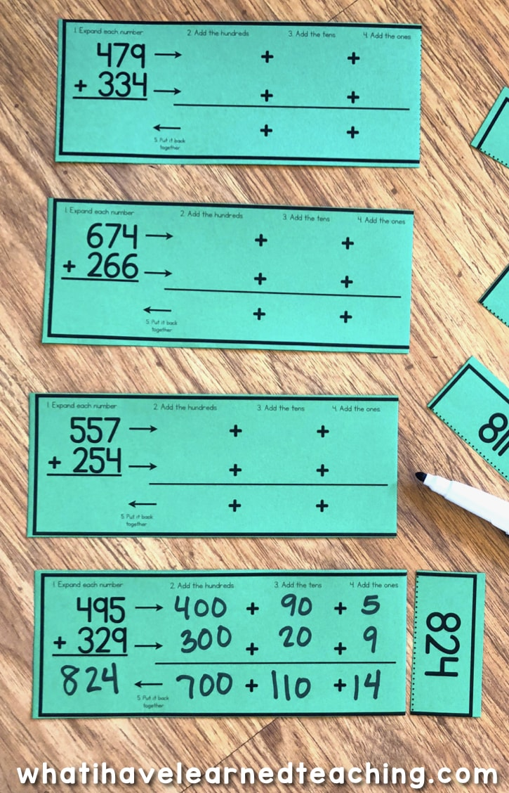 medium resolution of Three-Digit Addition Math Centers \u0026 Task Cards