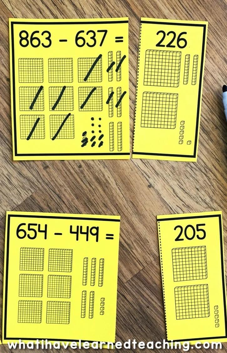 hight resolution of Three-Digit Subtraction Math Centers