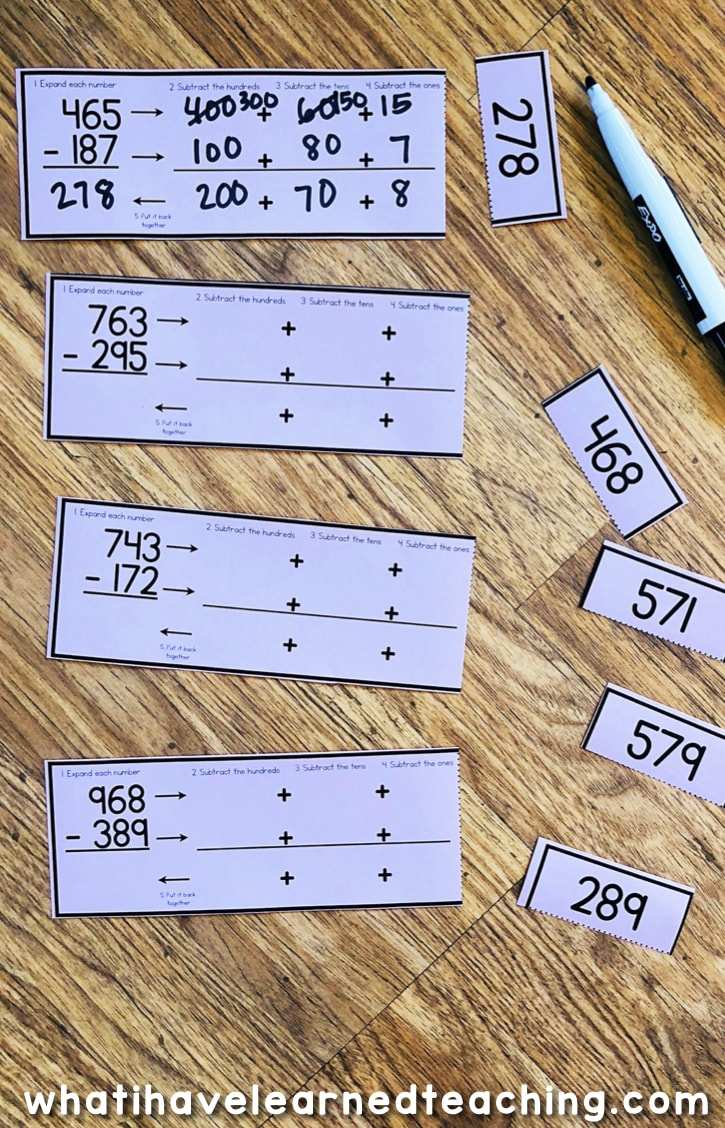 hight resolution of Three-Digit Subtraction Math Centers