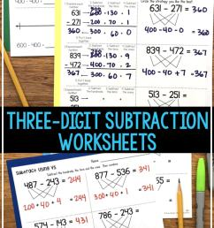 Three-Digit Subtraction Worksheets [ 1428 x 680 Pixel ]