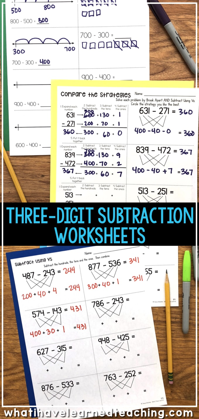 medium resolution of Three-Digit Subtraction Worksheets