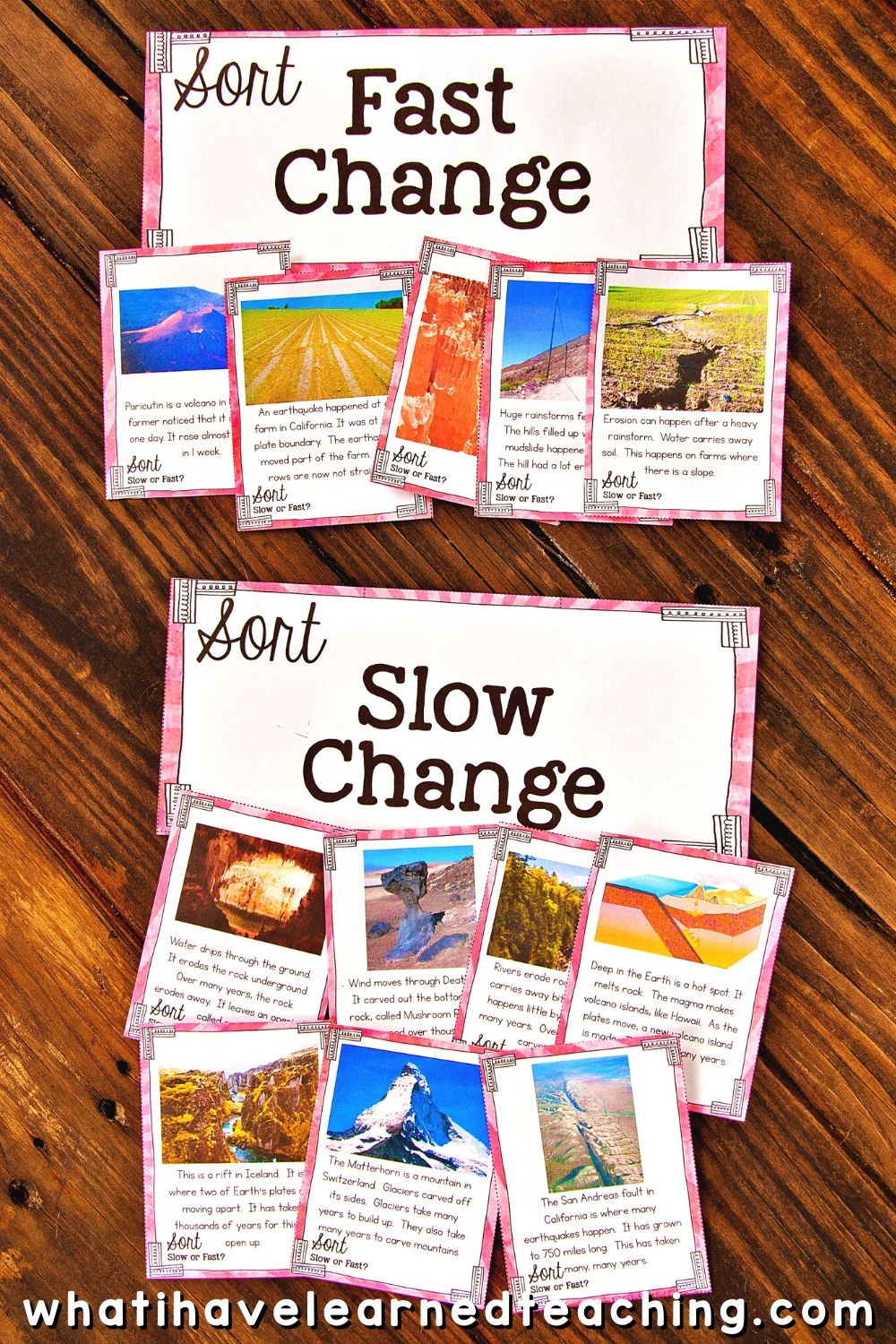 hight resolution of Slow and Fast Landform Changes Science Sort
