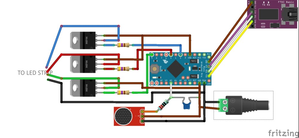 medium resolution of microphone arduino transistors and led strip circuit