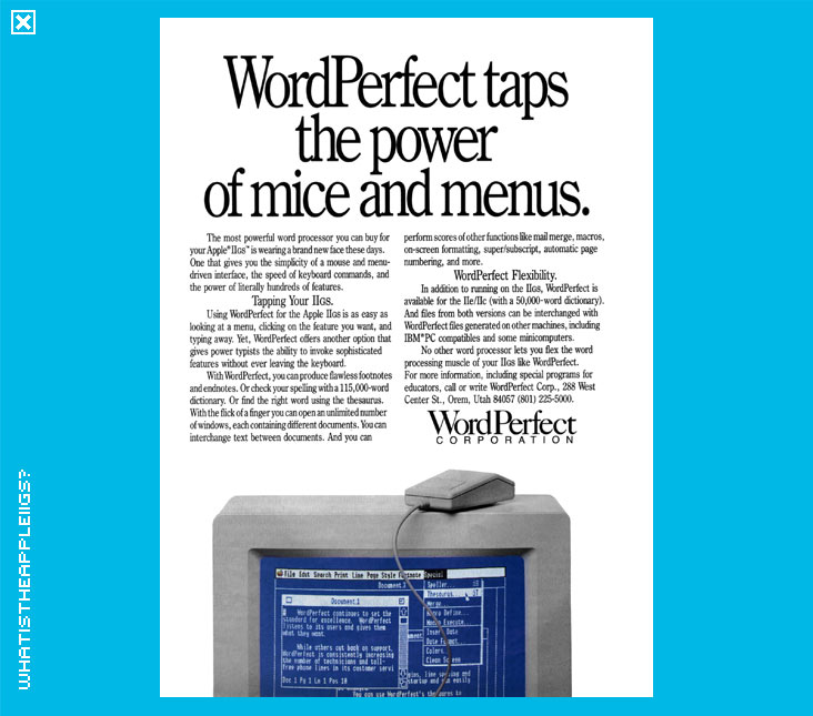 What Is The Apple IIGS Gt Productivity Applications Gt Word Perfect