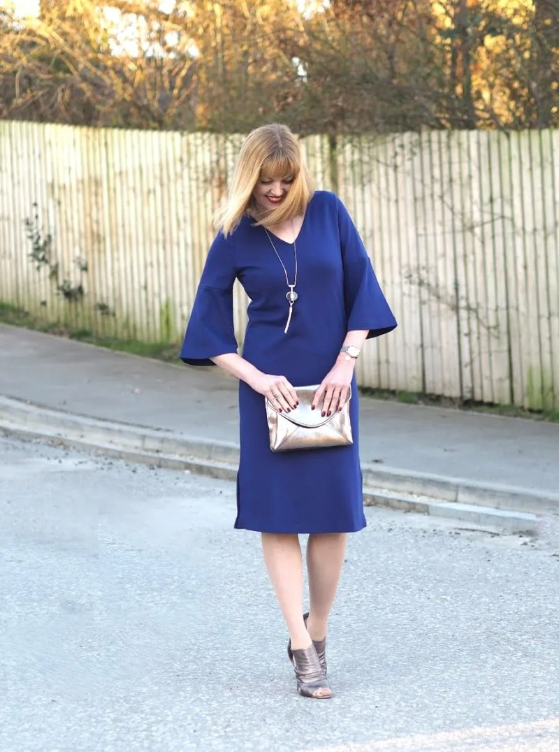 what lizzy loves ultra violet dress with metallic accessories