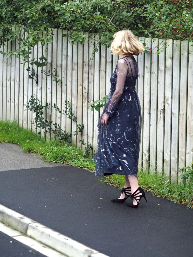 what lizzy loves marks and spencer constellation midi dress birthday outfit back view