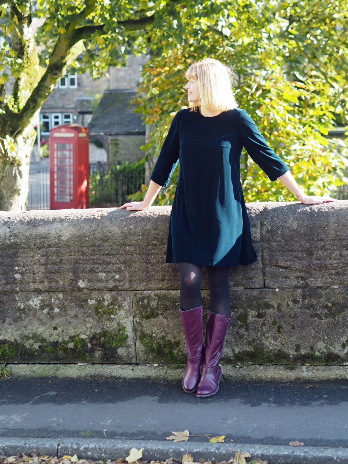 what lizzy loves purple knee high leather boots teal velvet swing dress