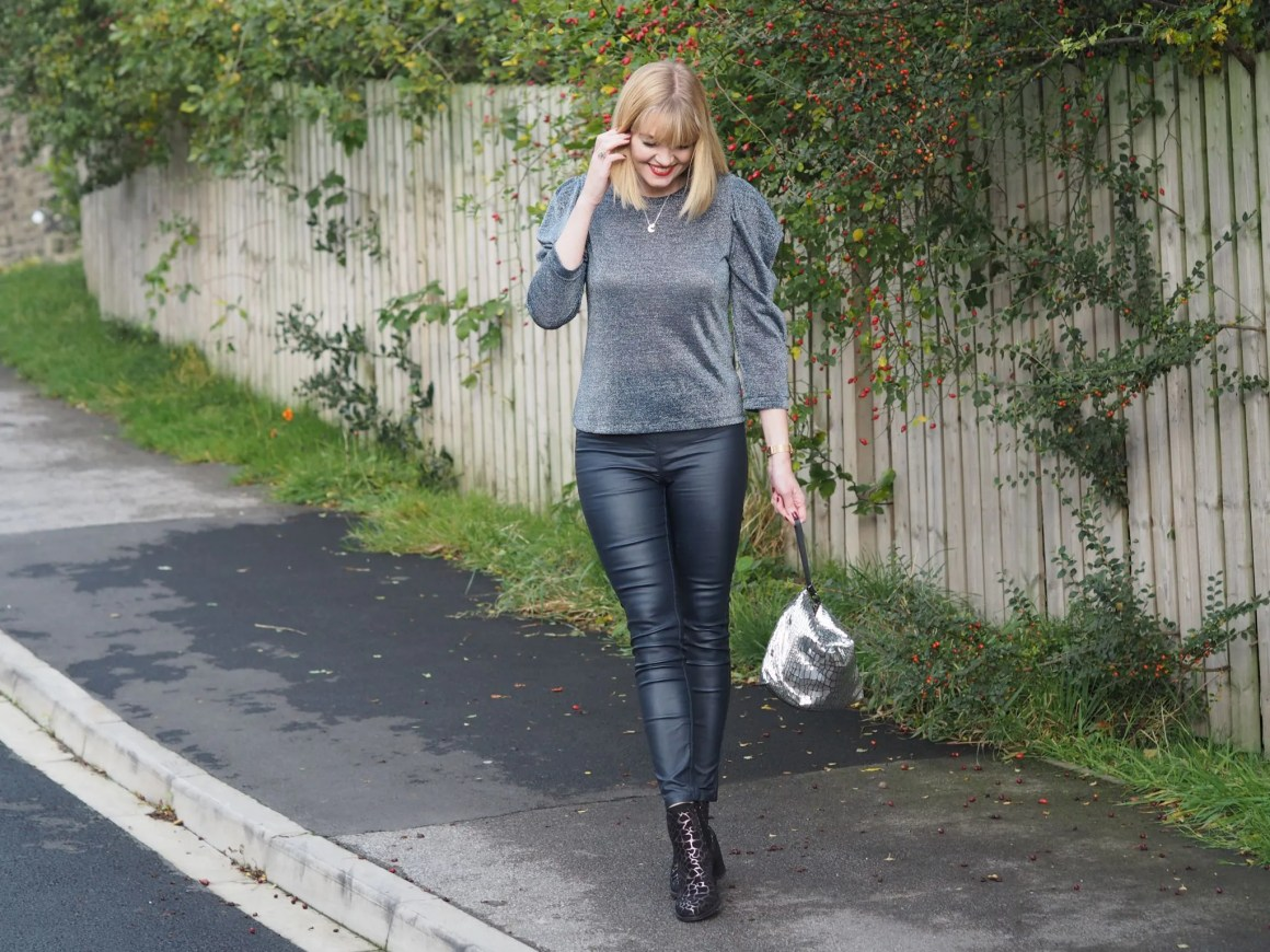 what lizzy loves metallic top coated leggings leopard boots
